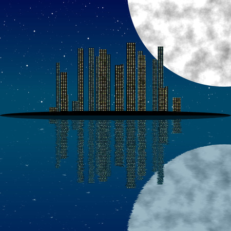 water reflection: City at night, with moon, stars and reflection in water - mirror