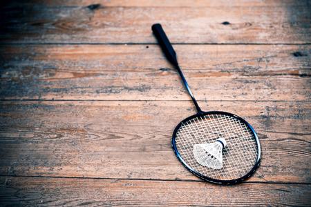 Vintage badminto racquets with shuttlecock photo