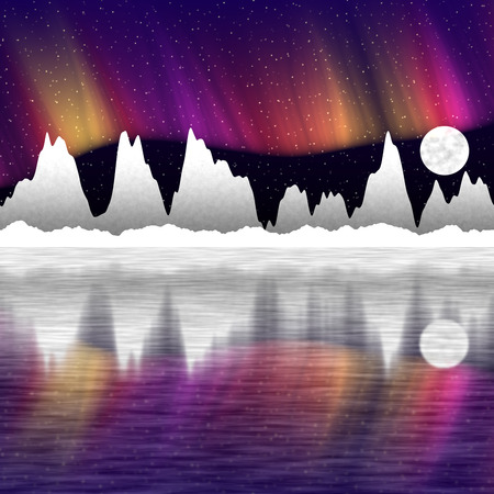 aurora borealis: illustration of snow mountains at night and mirror in the water  north pole