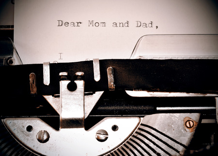 my dear: Letter with a title Dear Mom and Dad typed on old typewriter
