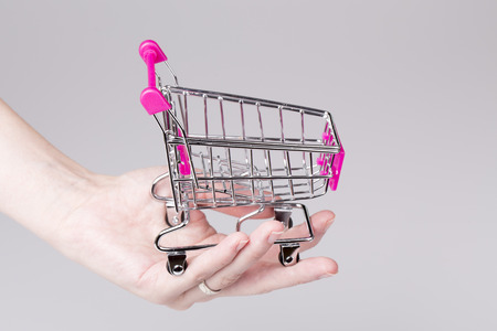 woman shopping cart: beautiful pink shopping cart in woman hand with white - shopping concept