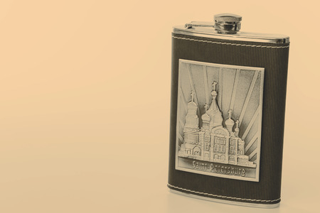 hip flask: Stainless hip flask isolated on white with motive of St.Petersburg
