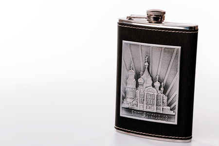 hip flask: Stainless hip flask isolated on white background with motive of St.Petersburg