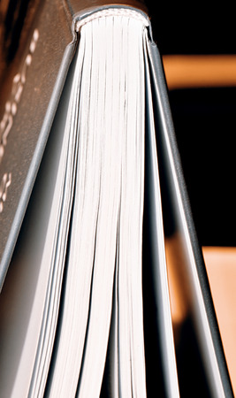 publishes: Closeup of pages of an open book Stock Photo