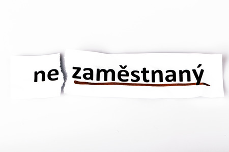 changed: The word unemployed changed to employed on torn paper and white background in czech language