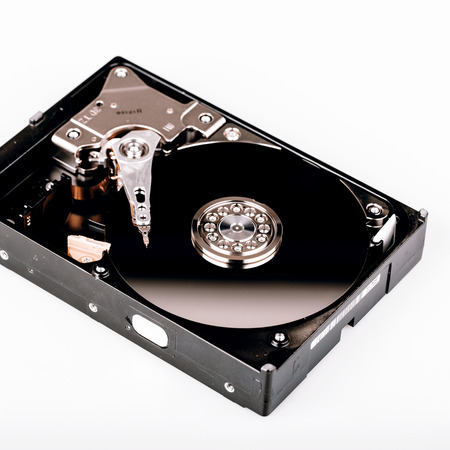 hdd: Inside Hard disk drive HDD isolated on white background
