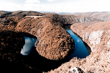 oxbow: Beautiful meander of vltava river - Czech Republic Stock Photo