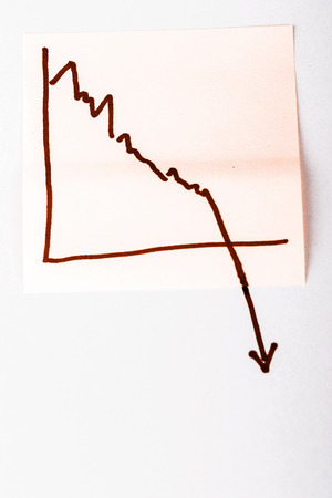 bad planning: close up of a note paper with finance business graph going down