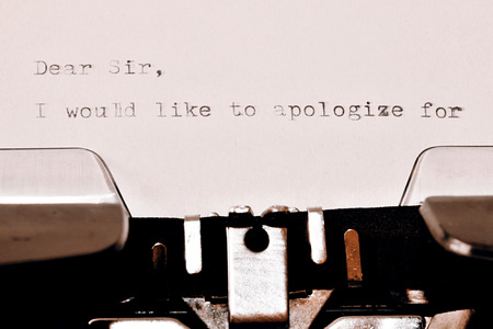 typed: Letter with a title Dear Sir typed on old typewriter Stock Photo