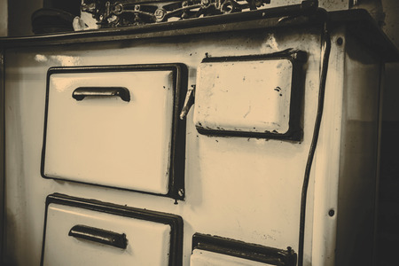 bakeoven: Old white metal oven in the kitchen - Czech Republic
