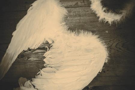 black wings: angel wings on the wooden floor - retro