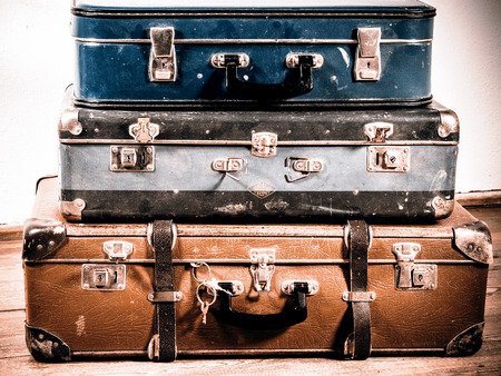 antique suitcase: beautiful old blue and brown suitcases - retro style Stock Photo