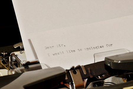sir: Letter with a title Dear Sir typed on old typewriter Stock Photo
