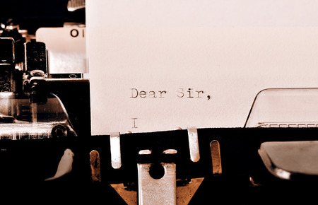 my dear: Letter with a title Dear Sir typed on old typewriter Stock Photo