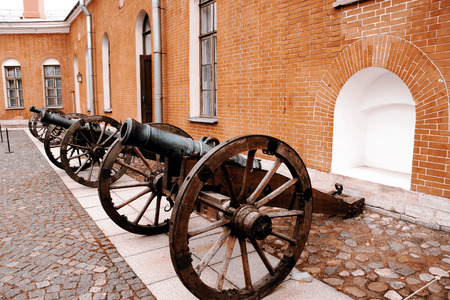 wheel barrel: Row of cannons - St.Petersburg, Russia