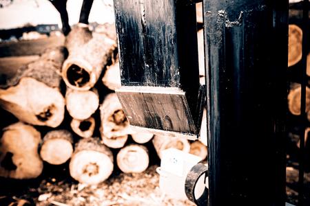 splitter: wood splitter in action Stock Photo