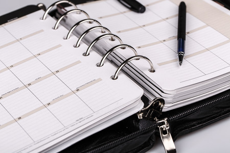 meeting agenda: luxury executive leather personal organizer or planner on white background