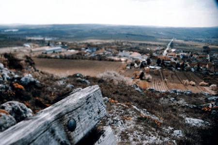 morava: Bench and village - south Czech Repulic