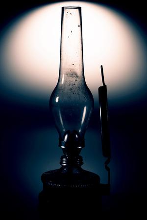 kerosene lamp: old kerosene lamp with mirror isolated on white background - retro