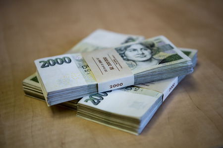 czech: pack of money - big pile of banknotes, czech crown