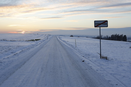 snow road: landscape under beutiful white snow, road, sunset Stock Photo