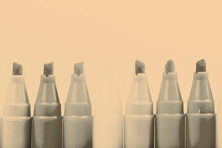 felt tip: Group of felt tip bright color markers on white background