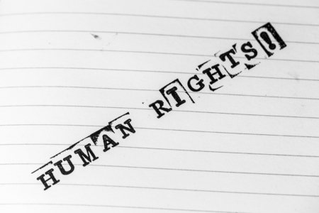 political prisoner: human rights text on paper in retro style