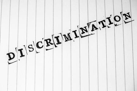 sex discrimination: discrimination text on white paper