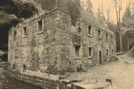 range of motion: Old mill house in Czech Republic - Ceske svycarsko Stock Photo