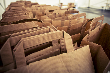 brown paper bags prepared for shopping