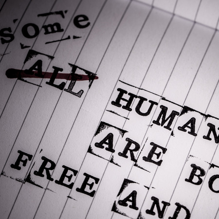 repress: all human beings are born free and equal text on paper in retro style