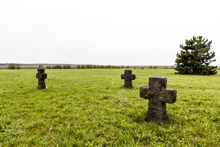 ww2: cross monument as memory for WW2 or WWII, world war two Stock Photo
