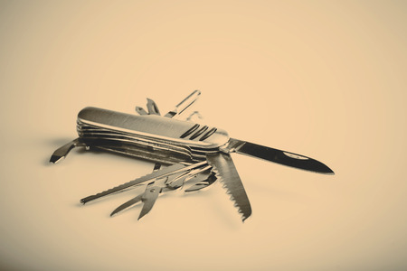 metallic swiss knife army keychain