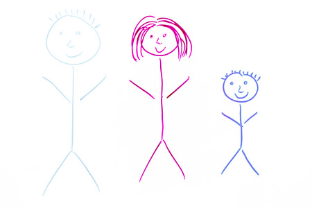 family: picture of family - child art on white