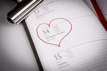 valentines day in calendar or diary on white, czech language Stock Photo