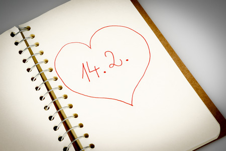 valentines day in calendar or diary on white