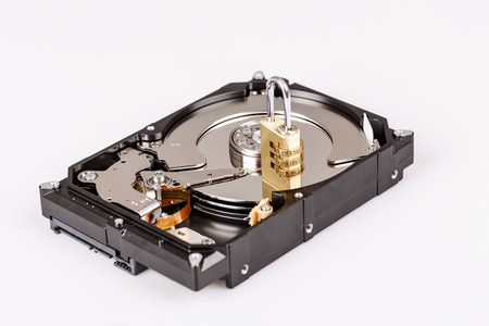lock on hdd or harddrive, part of computer, cyber security concept, data privacy