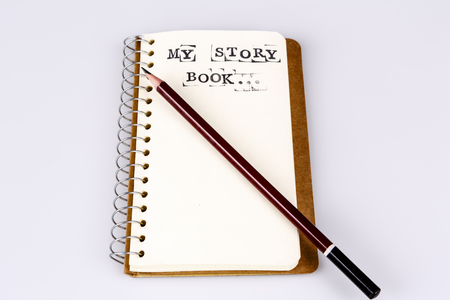 My story book on the white, Diary with text and pencil