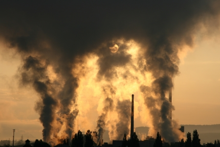 Air pollution,  factory Mondi in city Ruzomberok, Slovakia   photo