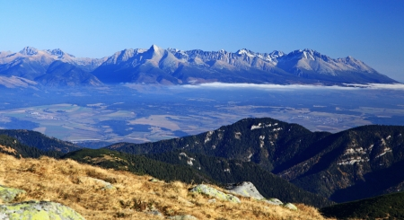 View from Low Tatras to High Tatras mountains, Slovakia