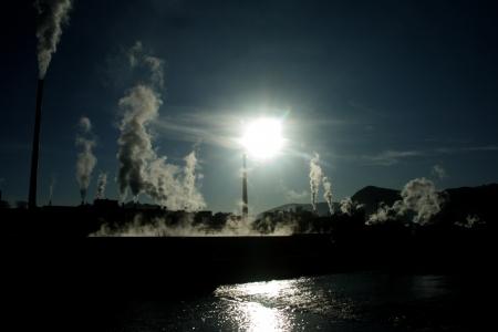 Air pollution  factory Mondi in city Ruzomberok, Slovakia   Stock Photo