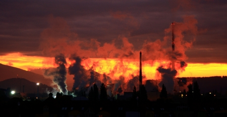 ruzomberok:  Air pollution  factory Mondi in city Ruzomberok, Slovakia   Stock Photo