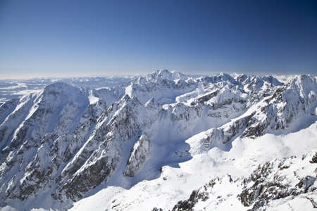 View from Lomnicky stit - peak in High Tatras, Slovakia Stock Photo