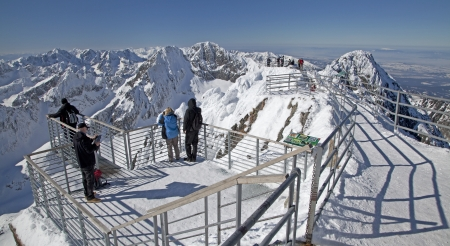 View from Lomnicky stit - peak in High Tatras, Slovakia Stock Photo