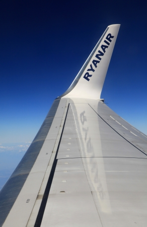 KATOWICE, POLAND - SEPTEMBER 6  Boeing 737-800 airline Ryanair from the window over the Katowice international airport on September 6, 2013 in Katowice