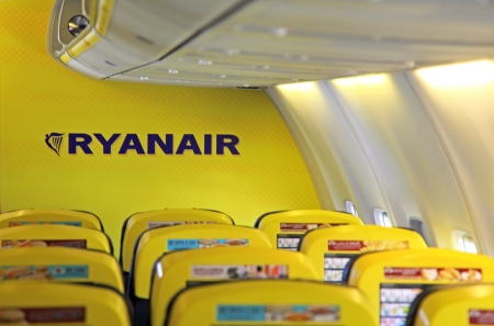 KATOWICE, POLAND - SEPTEMBER 6  Interior of Boeing 737-800 of low cost airlines Ryanair at Katowice international airport on September 6, 2013 in Katowice Editorial