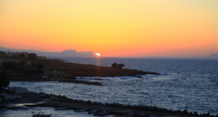 Sunset at village Panormo, Creta - Greece photo