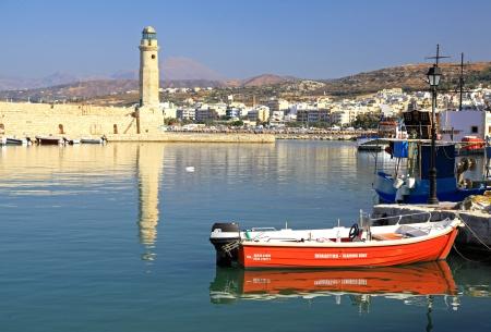 rethymno: RETHYMNO, GREECE - SEPTEMBER 11: Old port at city Rethymno on September 11, 2013 in Rethymno