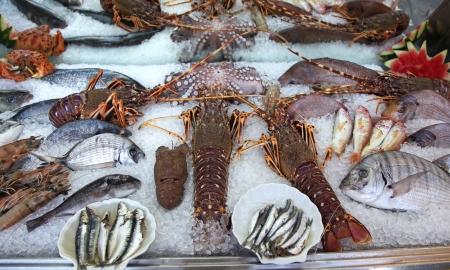 Bevroren vis in fornt van restaurant
