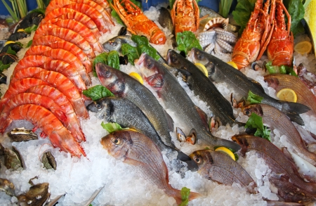 Frozen seafood in fornt of restaurant Stock Photo